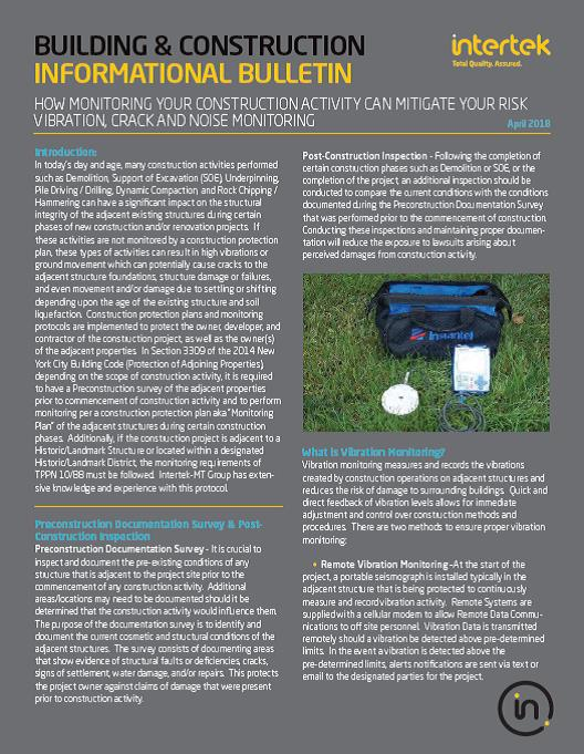Vibration, Crack, and Noise Monitoring